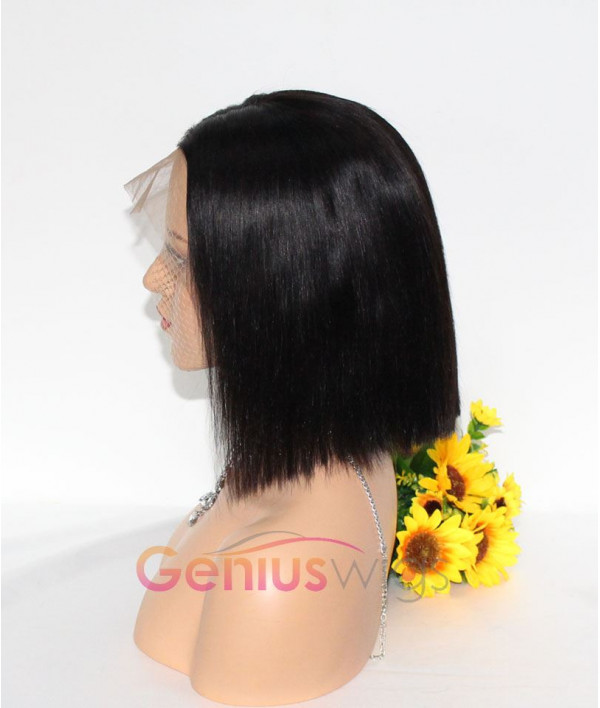 Breathable Fake Scalp Silky Straight Bob Wig 13x6 Deep Parting Human Virgin Hair Wig [GWB01]