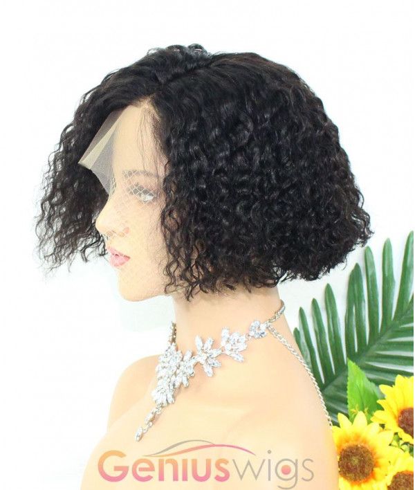 Skin Melt HD-Lace Transparent Clear Lace Breathable Fake Scalp Piexie Cut Rihanna Curly Bob Wig 13x6 Deep Parting Human Virgin Hair Wig [GWB09]