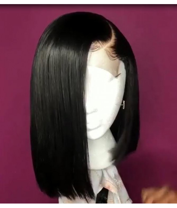 Breathable Fake Scalp Side Part Silky Straight Bob Wig 13x6 Deep Parting Human Virgin Hair Wig [GWB15]