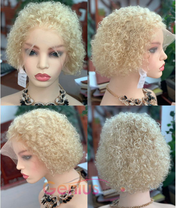 Tight Curly Pixie Cut Human Virgin Hair Wigs Bad Boss Vibe Bob Wig [GWB24]