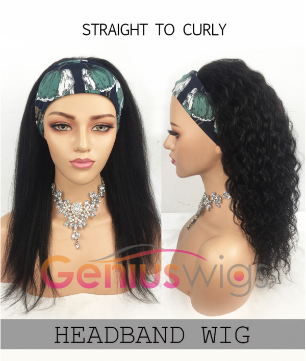 Wear & Go Headband Wig Versatility Wet N Wavy 2in1 Wig Straight to Curly Revertible Beginner Wig Save Your Edge [GWH01]