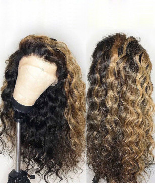 Highlight Curly Human Virgin Hair 13x6 Deep Parting Wig [GWN11]