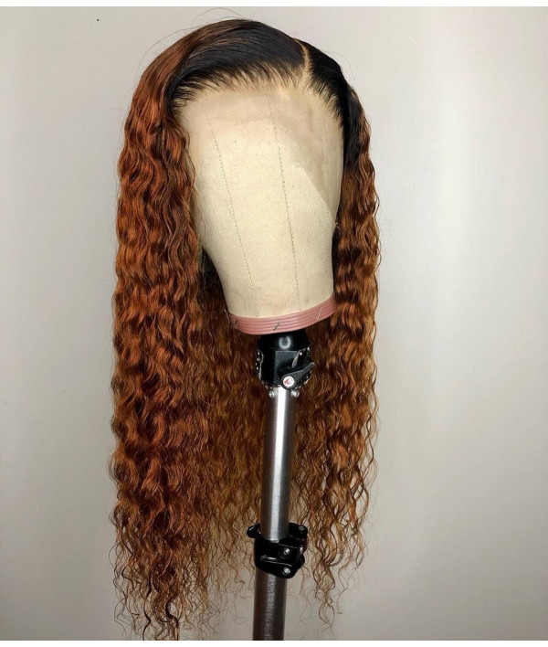 #27 Ombre Curly Human Virgin Hair 13x6 Deep Parting Wig [GWN12]
