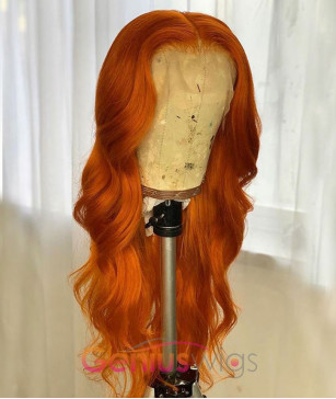Orange Wavy Human Virgin Hair 13x6 Deep Parting Wig [GWN19]
